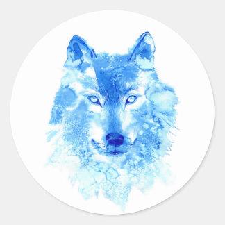 Autocollants de loup d'hiver d'aquarelle