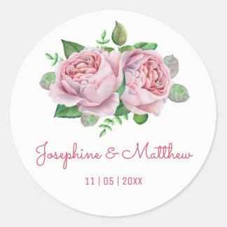 Autocollants de mariage d'aquarelle de rose de
