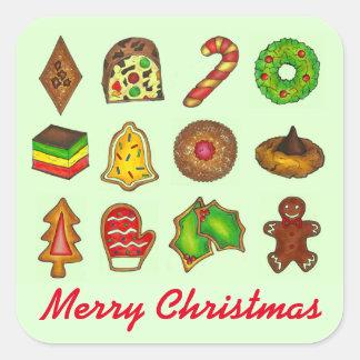 Autocollants de Noël de biscuits de vacances de