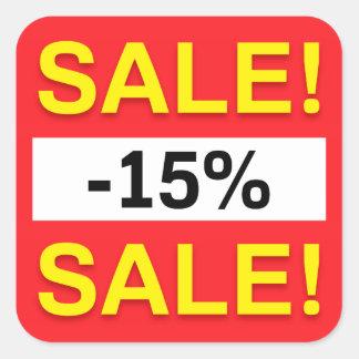 autocollants de remise de vente de 15 pour cent