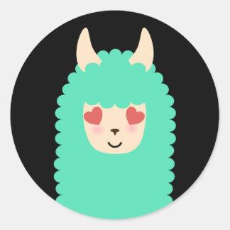 Autocollants d'Emoji d'amour de lama