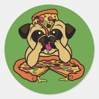 Autocollants drôles de carlin de pizza