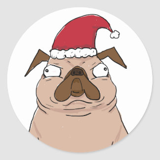 Autocollants drôles de Noël de carlin de Bah
