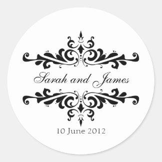 Autocollants élégants de mariage avec les noms et