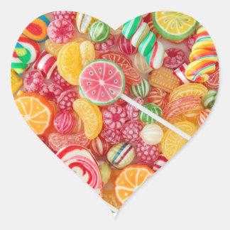 Autocollants en forme de coeur de sucrerie