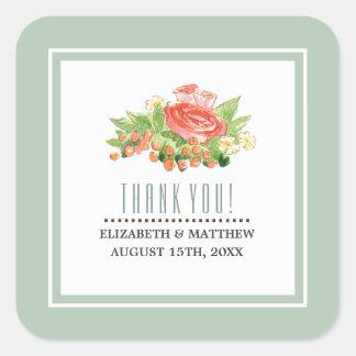 Autocollants floraux de faveur de mariage
