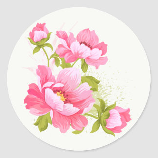 Autocollants floraux de fleur de pivoines de rose