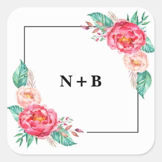 Autocollants floraux de mariage de monogramme