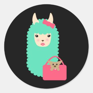 Autocollants Girly d'Emoji de lama (avec le chiot)