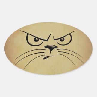 Autocollants grincheux d'ovale de chat