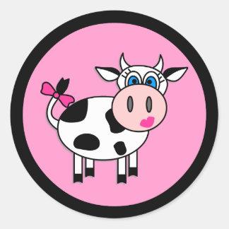 Autocollants heureux de vache à fille