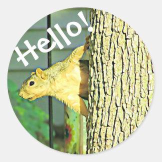 Autocollants idiots d'écureuil de bonjour mignon