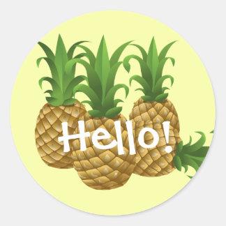 Autocollants jaunes d'ananas de bonjour mignon