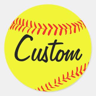 Autocollants jaunes de coutume du base-ball de