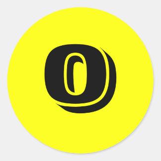 Autocollants jaunes ronds de 0 grands nombres par