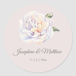Autocollants mauve floraux de mariage de pivoine