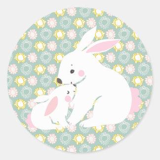 Autocollants mignons de lapin de mère et de bébé