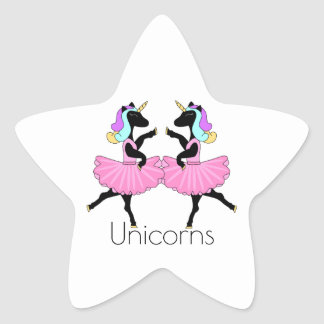 Autocollants noirs d'étoile de licornes de