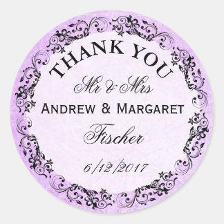Autocollants pourpres de Merci de mariage