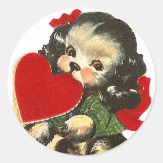 Autocollants ronds du coeur | Valentine | de chiot