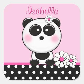 Autocollants roses personnalisés de panda