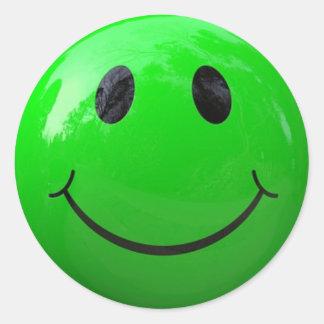 Autocollants souriants de visage de vert de chaux