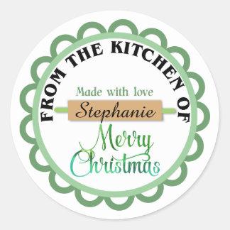 Autocollants verts de cuisson de Joyeux Noël