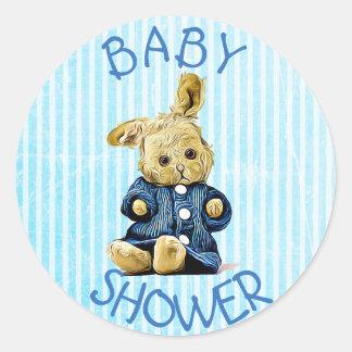 Autocollants vintages bleus de lapin de baby