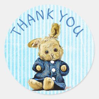 Autocollants vintages bleus de lapin de Merci