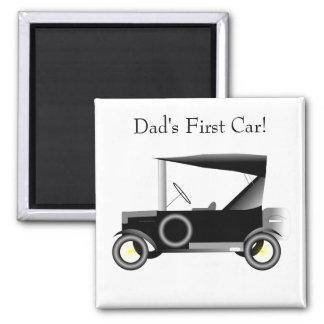 Automobile vintage - la première voiture du papa ! magnet carré