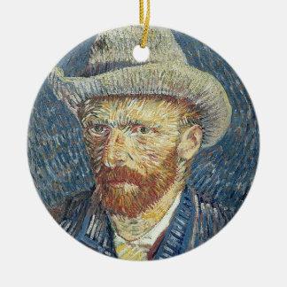 Autoportrait de Vincent van Gogh | avec le chapeau Ornement Rond En Céramique