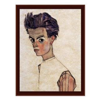 Autoportrait par Schiele Egon Carte Postale