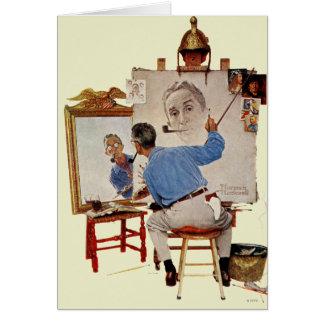 Autoportrait triple carte de vœux