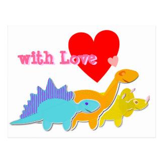 avec la carte postale mignonne de dinosaures de