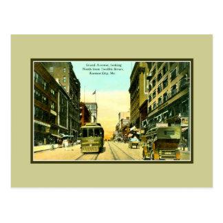 Avenue vintage de Grant, tramway, Kansas City MOIS Carte Postale