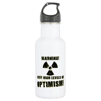 Avertissement ! Hauts niveaux d'optimisme ! Bouteille D'eau En Acier Inoxydable