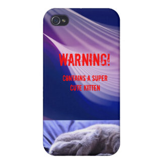 avertissement mignon de chaton : pourpre étui iPhone 4/4S