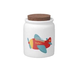 Avion coloré et adorable de bande dessinée jarre à bonbons