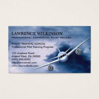 Avion commercial dans des cartes de visite cartes de visite
