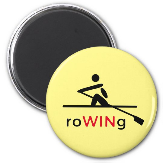 Aviron du jaune de motivation magnet rond 8 cm