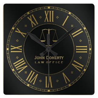 AVOCAT | Personalizable d'or Horloge Carrée