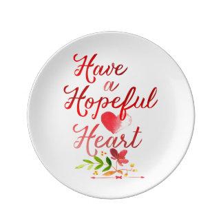 Ayez un coeur plein d'espoir assiettes en porcelaine