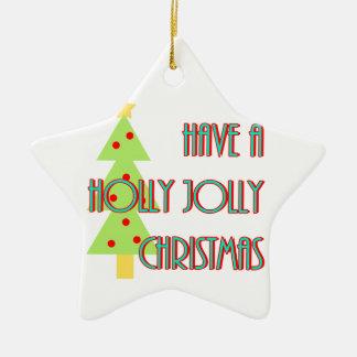 ayez une moitié du siècle gaie de Noël de houx Ornement Étoile En Céramique