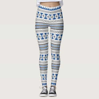 Aztèque bleu blanc noir ethnique tribal leggings