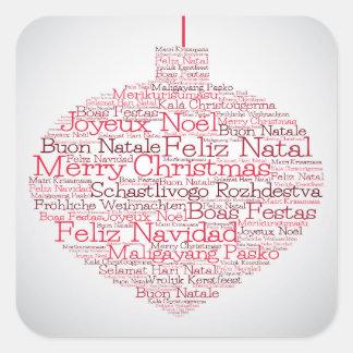 """Babiole faite de mots de """"Joyeux Noël"""" Sticker Carré"""