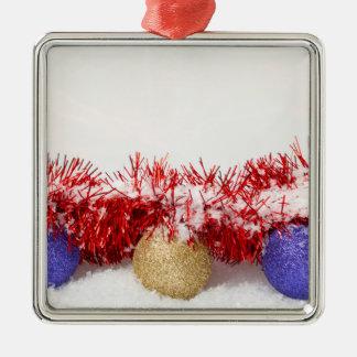 Babioles de Noël et ornement carré en métal de