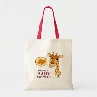 Baby shower adorable de girafe d'amoureux sac en toile budget
