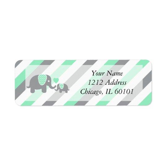 Baby shower blanc, vert et gris d'éléphants de étiquette d'adresse retour