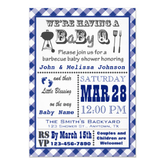 Baby shower bleu de BaByQ de barbecue Carton D'invitation 12,7 Cm X 17,78 Cm