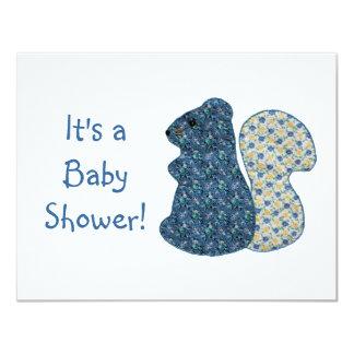 Baby shower bleu d'écureuil de style campagnard carton d'invitation 10,79 cm x 13,97 cm